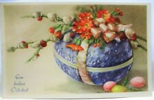 1952 GERMAN POSTCARD HAPPY EASTER, BLUE EGG CANDY CONTAINER WITH EGGS