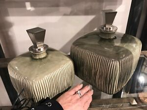 TWO CAYSON MODERN RIBBED CERAMIC URNS BOTTLES FINIAL TOPS UTTERMOST 18938