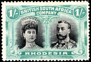 Rhodesia Double Head 1/- Black & Pale Blue Green MH SG 152 Cat £70 good og