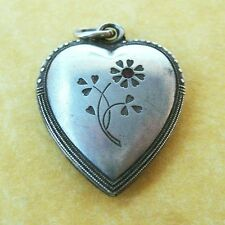 Vintage 1920s Art Deco German 800 Silver Daisy Flower Puffy Heart Charm Red Gem