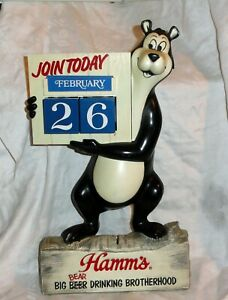 Old Hamm's Big Bear Drinking Brotherhood Calender Bank Figural w/Months