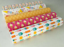 SPECIAL OFFER PACK OF 5 ICE CREAM/LOLLIES CANVAS PRINTED FABRIC SHEET.HAIR BOWS