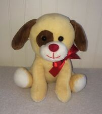 """Just For You Puppy Dog Plush Megatoys Cream Brown Spot Eye Ears 7"""" Stuffed Toy"""