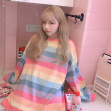 Lady Girls Rainbow Striped Pullover Sweatshirt Japan Loose Harajuku Casual Chic
