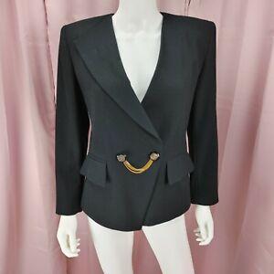 VTG 90's Kasper ASL Petites Women's Black Wool Long Sleeve Blazer Jacket Size 6P