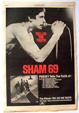 SHAM 69 vintage 1978 POSTER ADVERT TELL US THE TRUTH UK CONCERT TOUR Punk