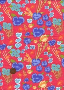 100% Cotton Lawn Fabric Floral Pansies Red Blue Yellow Green Aqua Patchwork