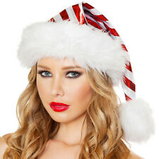 Striped Santa Hat Metallic Candy Cane Fur Trim Christmas Holiday Costume C179