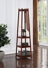 Walnut Finish, Wooden 3 Tier Shelves, Garment Coat Hat Rack Hanger with 8 Hooks