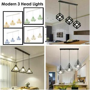 Modern Vintage Industrial Retro Loft 3Head Iron Ceiling Lamp Shade Pendant Light