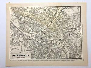 1938 Vintage PITTSBURGH Authentic Antique Atlas Map - Collier's World Atlas