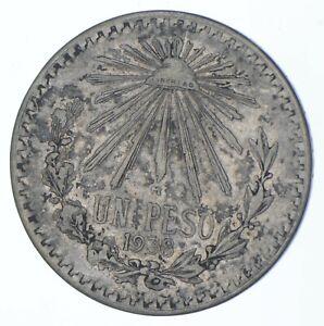 SILVER - WORLD COIN - 1938 Mexico 1 Peso - World Silver Coin *013
