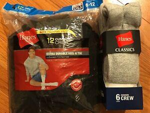 Lot: NEW 18 Pairs Hanes Men's Cushion Crew Classics Socks Size 6-12 Black,Grey