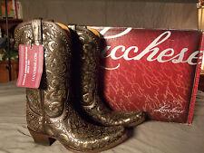 Lucchese Lady Sierra Cowgirl Boot Curly L Espresso Laser M4841 11B ,9.5B or 8.5B