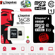 NEW 16GB KINGSTON Micro SD MEMORY CARD Class10 speed SDHC U1 A1 48MB/s + ADAPTER