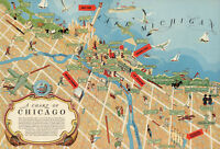 Pictorial Chicago Chart Map Wall Art Poster Print Decor Vintage History Repro