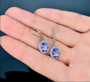 4.20Ct Oval Cut Blue Tanzanite Drop & Dangle Halo Earrings 14K White Gold Finish