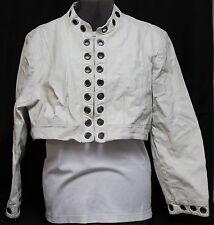 Ashley Stewart Woman Sz 3X White Leather Half Jacket Grommnets Sexy Classy
