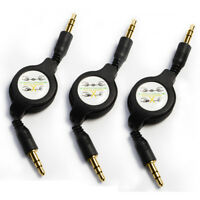 Black 3.5mm Stereo Audio Data Retractable AUX Cable Male to Male Cord Extension
