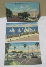 Yacht Basin & Sailboat Races St. Petersburg Fl 1950's Postcards T*