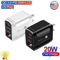 Fast Quick Charge QC3.0 3A+PD 20W Type-C LCD Display Mains Wall Adapter US Plug