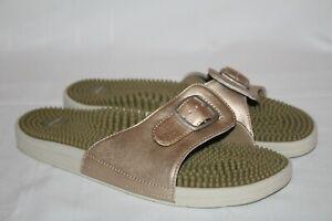 Kenkoh Massage Slide Sandals Womens Size 41 10 Gold Buckle EUC