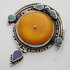 Turquoise Lapis Pendant Silver Tone Tibetan Nepalese Ethnic Tribal Nepal UP969