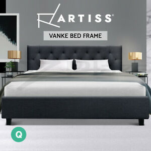 Artiss Bed Frame Queen Size Base Mattress Platform Fabric Wooden Charcoal VANKE