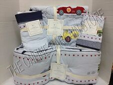 Pottery Barn Kids Vintage Roadster Cars Baby Quilt Bumper Sham Crib bed Skirt 4p