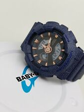 Authentic Casio Baby-G Watch Denim Pattern with Rose Gold  BA110DE