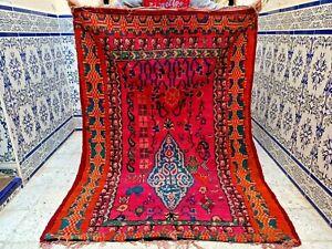"Vintage Moroccan Azilal Rug Handmade Old kilim Berber Rug Carpet Wool 6'2"" x4'5"""