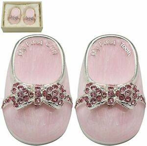 Silver Plated First Tooth & Curl Baby Girl Christening Gift Box Shower Present