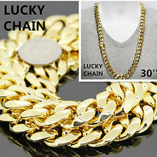 """14K GOLD FINISH MIAMI CUBAN LINK HEAVY CHAIN NECKLACE 30""""x18mm 388g A39"""
