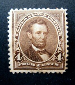 1895 US S# 269, 4c Lincoln, dark brown, double line watermark MH OG vg-f