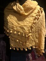 Vintage Yellow Cotton Sari Scarf Shawl