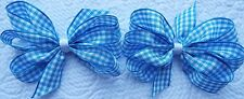"2 LIGHT BLUE AND WHITE GINGHAM 3"" INCH RIBBON HAIR BOWS ALLIGATOR CLIP SET NEW"