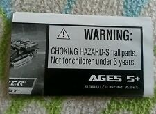 Transformers MOVIE SCOUT CLOCKER INSTRUCTION BOOKLET ONLY