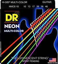 DR Strings NMCE-10 Multicolor Neon Coated Electric Guitar Strings 10-46 2 pack