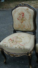Set Of 3 Antique Louis Xv French Fauteulin Carved Aubusson Tapestry c 1750 Chair