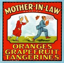 Florida Mother-In-Law Oranges Tangerines Orange Fruit Crate Label Art Print