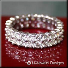 4.00 CT FOREVER BRILLIANT MOISSANITE ROUND DOUBLE ETERNITY TWIN BAND RING SIZE 6