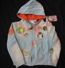 ED HARDY girls kids 6 blue bulldog patches splatter hoodie sweatshirt zip NEW