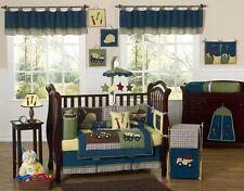 Modern Unique Designer Blue Construction Baby Boy Crib Bedding Set for a Newborn