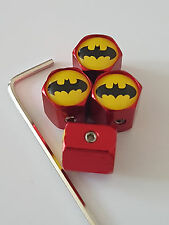 BATMAN YELLOW TOP RED ANTI THEFT DUST VALVE CAPS ALL MODELS RETAIL PACK VW AUDI