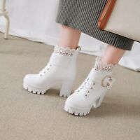 Womens Sweet Lace Buckle Strap Gothic Chunky High Heels Ankle Boots Girls Zsell