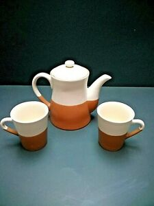 """DESIGNPAC~TEAPOT or COFFEE SERVER with (2) CUPS~Handcrafted~""""Latte"""" Glaze""""~MCM"""