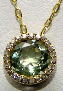 """14KT YELLOW GOLD 1.19 CARAT GREEN AMETYST AND DIAMOND HALO PENDANT 16"""" CHAIN"""