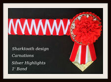 Sharktooth  Red,  White carnation Show Browband Available all sizes