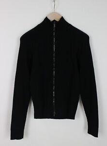 ARMANI COLLEZIONI Men's ~SMALL* Elastic Ribbing Full Zip Black Sweater 33239-GS