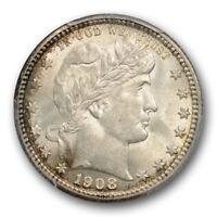 1908 25C Barber Quarter PCGS MS 63 Uncirculated Lightly Toned Original
